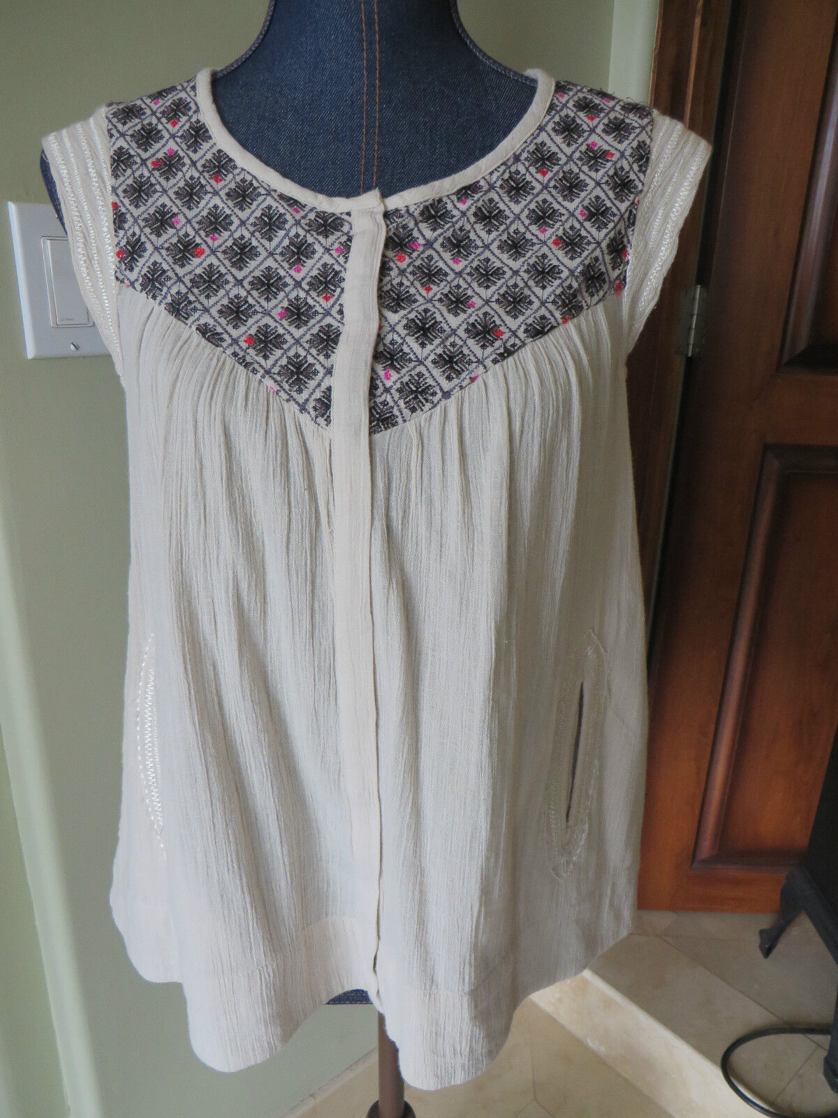 damen Lucky Brand Blouse Top Cream Gauze Cotton schwarz Rosa Embroidery NWT SZ S