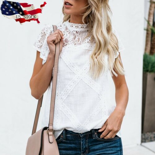 US Womens Lace Patchwork Flare Ruffles Short Sleeve Cute Floral Shirt Blouse Top