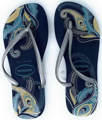 Havaianas New Slim Flip Flops Womens Sandals Navy Blue Silver Choose Size