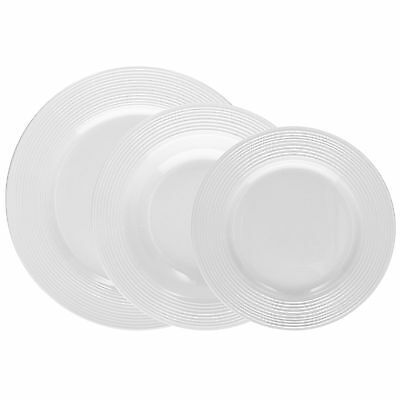 Servizio piatti da tavola 18 pz polis circles bianco tognana porcellana