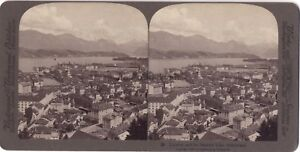 Suisse Panorama Da Lucerna Lac Foto Stereo Vintage