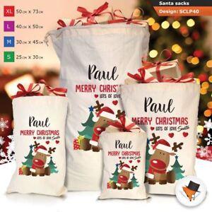 Personalizzato-Per-Bambini-Babbo-Natale-Sacco-Sacchetto-Di-Natale-Renna-Cartone-Animato-Carina-Rosa