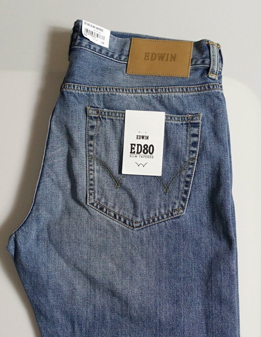 a50d641532f5 Pantalon Jeans EDWIN new Japan ED 80 slim tapered deep blu W34 L32 val  nntkbl4406-Pantaloni