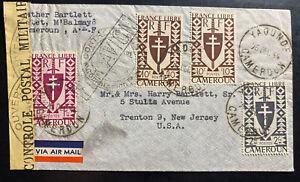 1944 Yaounde Cameroun censored Airmail cover to Trenton NJ USA
