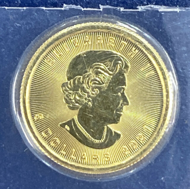 2021 Canada 5 Dollars  1/10 oz Gold Maple Leaf .9999 BU Mint Sealed