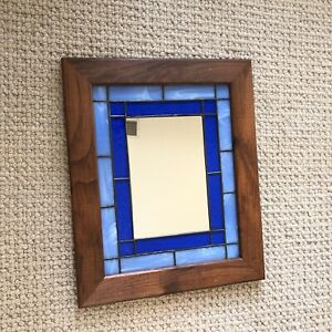 """Vintage Stained glass mirror Wood framed Rustic Farmhouse Mission Blue 14 X 17"""""""