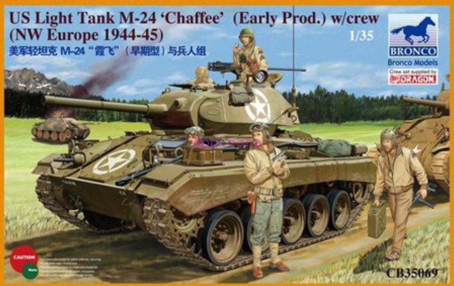 Bronco 1  35069 US ljus Tank M -24 Chaffee (WWII Prod) med besättning