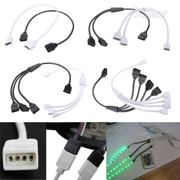 1 TO 1/2/3/4 Female 4 Pin Connector Extension Cable For 3528 5050 RGB LED Strip