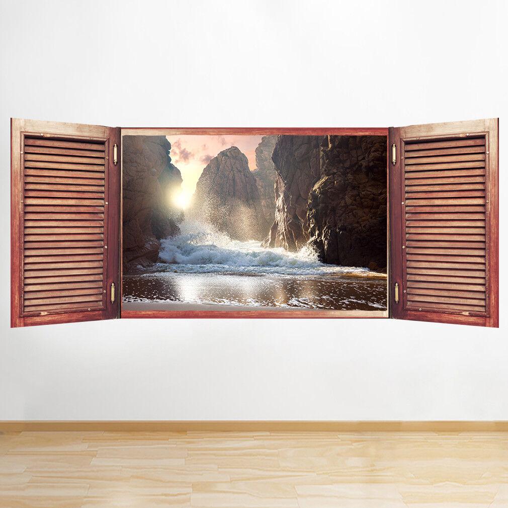 S181 scogliera Sunset Beach Beach Beach rocce mare FINESTRA ADESIVI MURALI 3D ARTE Adesivi Vinile Stanza bce408
