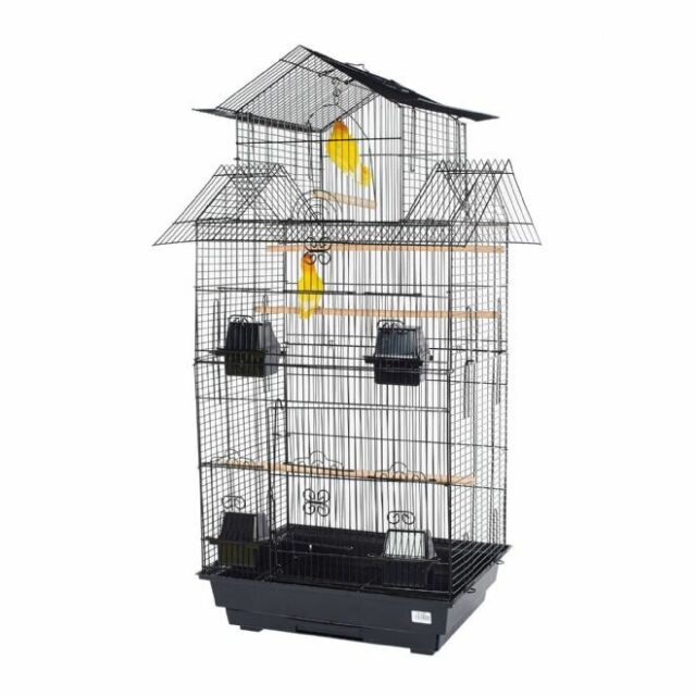 Pet Ting Tulip Black Cage With Accessories for Finch Canary Budgie Cockatiel