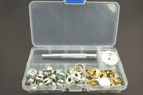 62PCS Heavy Duty Snap Fasteners Press Stud Kit Poppers Button for Boat Covers