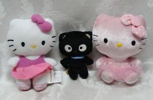 Sanrio-Hello-Kitty-Dolls-Black-Cat-TY-Plush-Set-Build-a-Bear-BAB-Pink-Satin-EUC