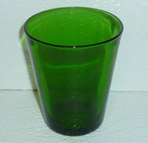 Vereco-Small-Flat-Tumbler-Drinking-Glass-Cup-Green-Vtg-4-oz-France-3-25-034