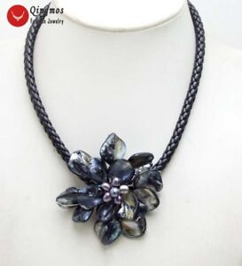 Blue 70mm Shell Flower Pearl Pendant Necklace for Women Black Rope 18/' Chokers