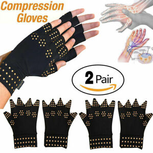2x-Copper-Hands-Arthritis-Gloves-Therapeutic-Compression-Brace-Magnetic-Joints