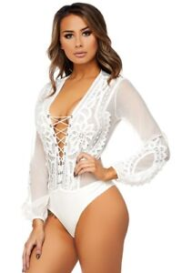 bb1127628a White Embroidered Mesh Lace Up Front Long Sleeve Bodysuit, S, M, L ...