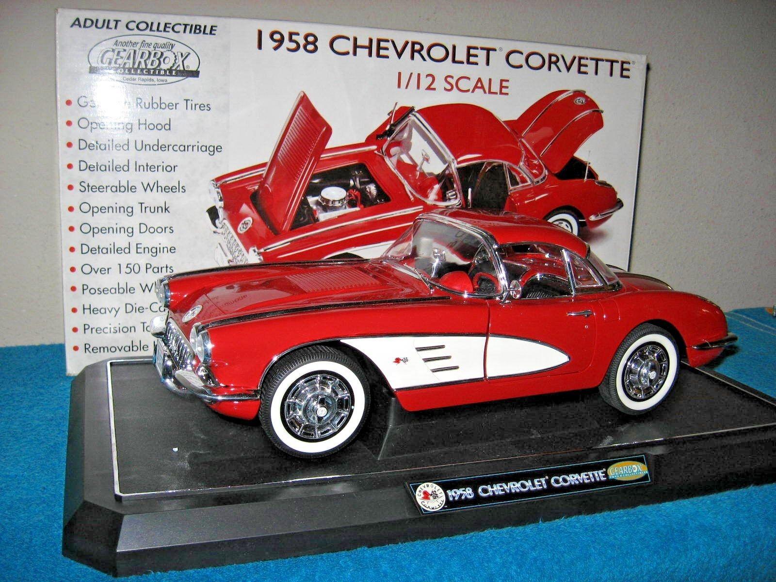 HUGE 1958 CHEVROLET CORVETTE rosso/bianca  1:12  OPENING DOORS HOOD & TRUNK GEARBOX