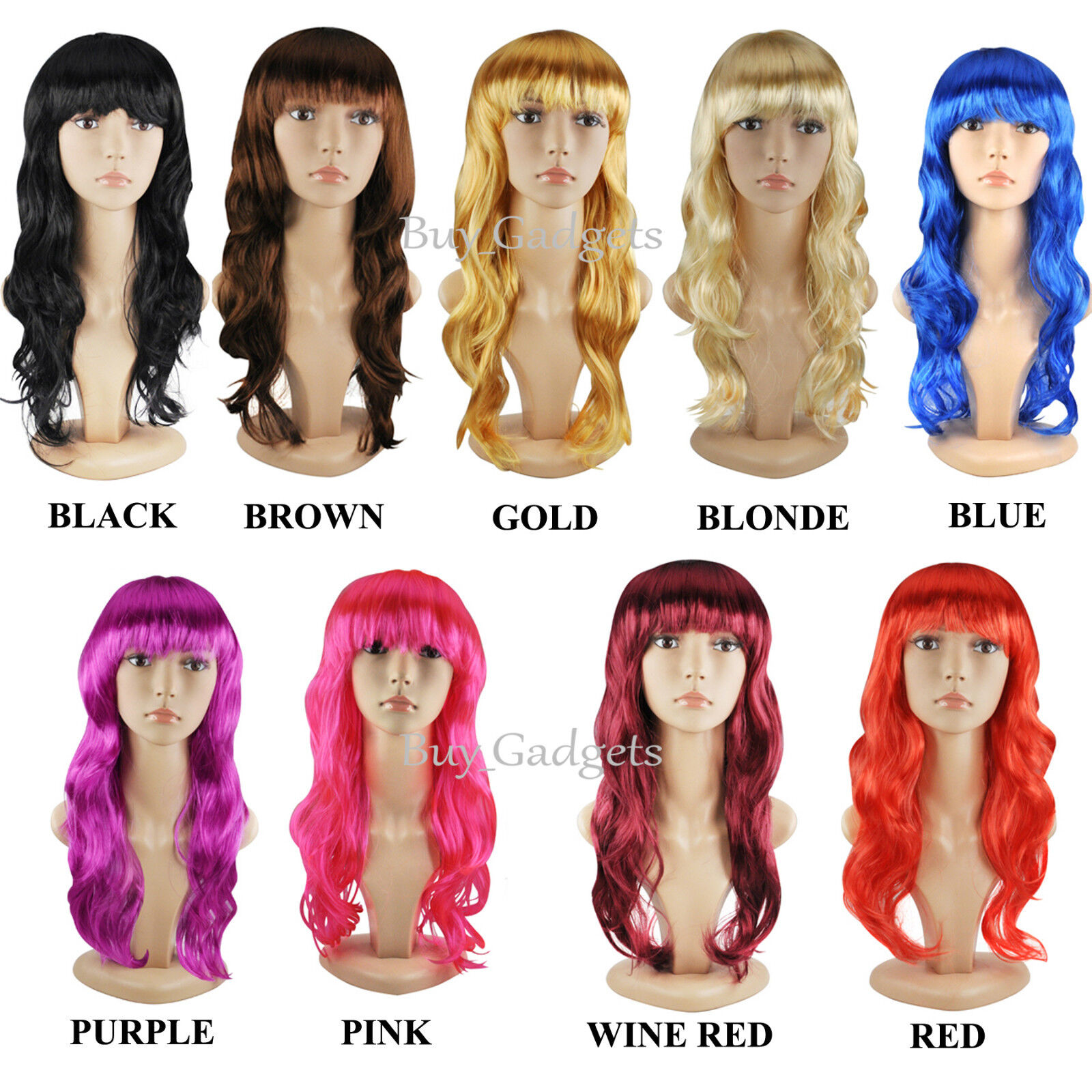 Womens Auburn Long COSPLAY WIG Curly Hair Fancy Dress