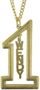 """Vintage Gold Tone Number #1 Name Plate Pendant 2 1/2"""" + Necklace 22"""" - Wendy"""
