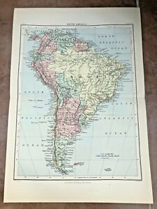 """circa 1880s colour fold out map titled """" south america """""""