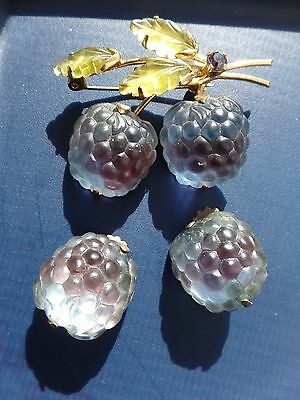 Vintage Austria Frosted Double Glass Purple Fruit Brooch/Pin And Earring Set