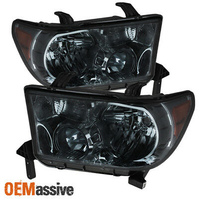 For 07-13 Toyota Tundra//08-17 Sequoia Black Crystal Headlights LH//RH Replacement