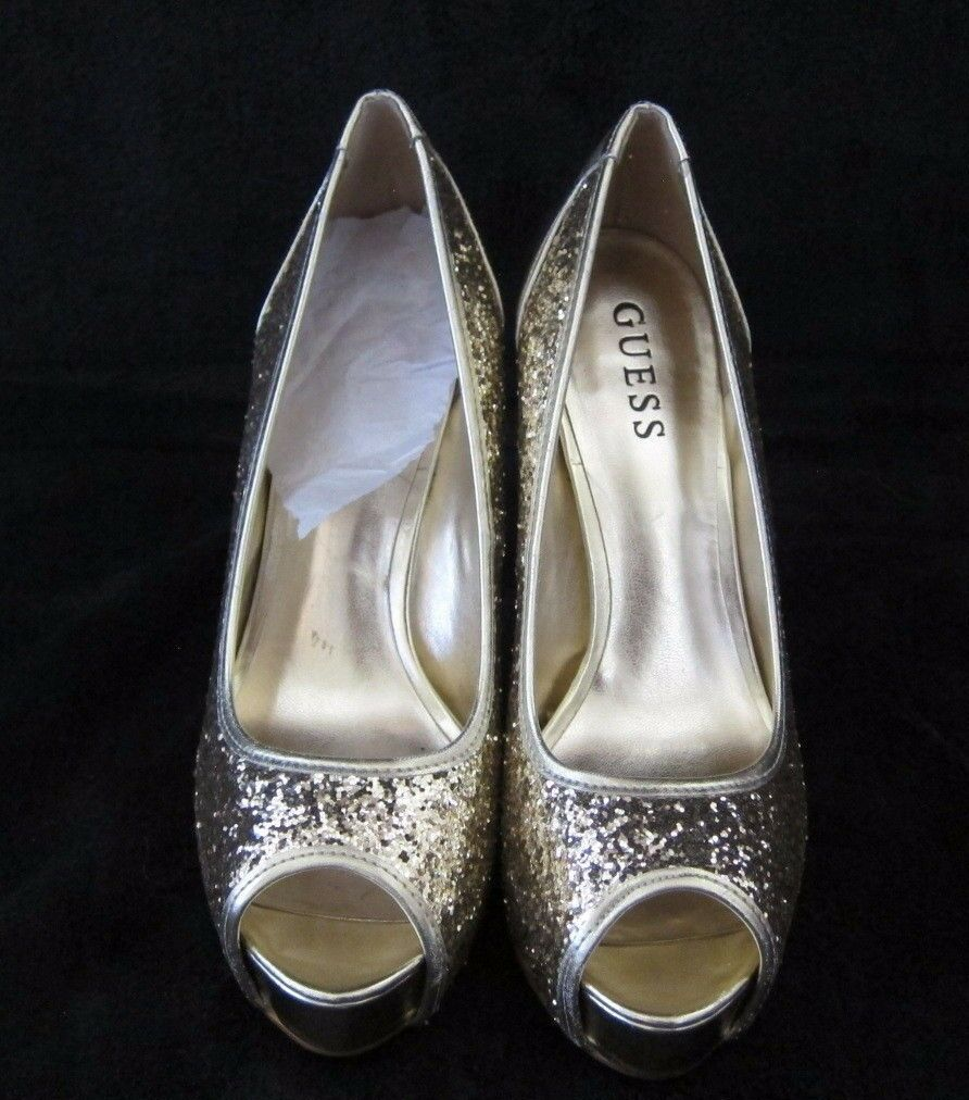 GUESS damen Gaminata 4 Gold Glitter Platform Peep Peep Peep Toe Heels schuhe US 8 NWOB 9b8032