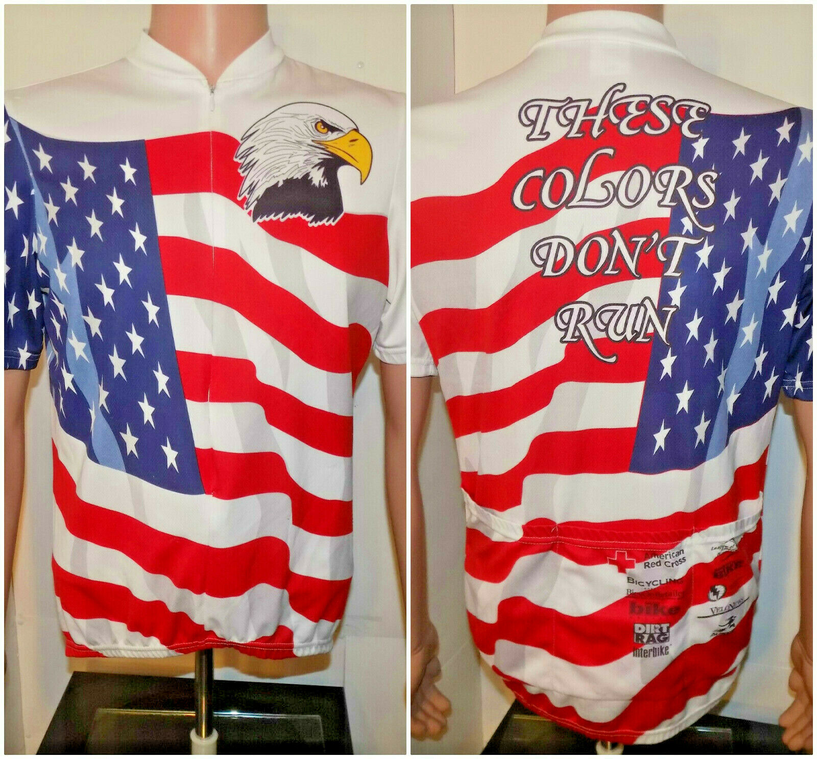 United States of America Themed Cycling Jersey (Lg) Aussie Eagle Flag USA Zipper