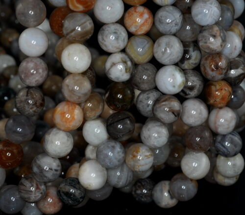 6MM BAMBOO AGATE GEMSTONE BROWN GREY ROUND LOOSE BEADS 15/""