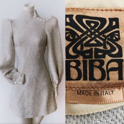 RARE vintage Biba metallic mini dress Designer