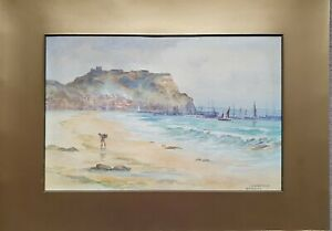 Antique-Victorian-Watercolour-Scarborough-Beach-amp-Castle-Yorkshire-Signed