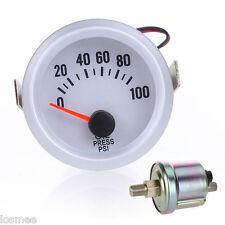 """US Oil Pressure Meter Gauge + Sensor for Auto Car 2"""" 52mm 0~100PSI Blue LED"""