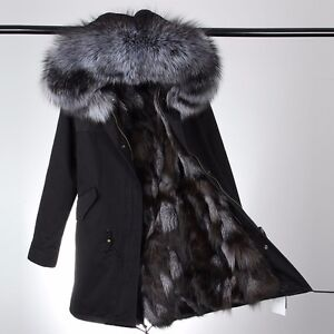 Womens Fur Parka Coat Jacket w/ GENUINE Fox Fur Lining & Raccoon ...