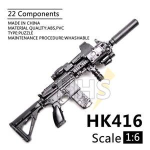 """1//6 HK416 M416 Weapon For 12/"""" Action Figure Assault Rifle PUBG Guns Model"""