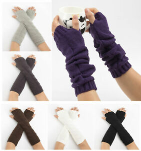 Womens-Long-Fingerless-Gloves-Thumb-Hole-Thermal-Wrist-Arm-Hand-Knitted-Mittens