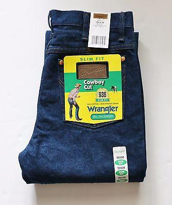 New Wrangler 936 Cowboy Cut Slim Fit Jeans Men's Sizes Prewashed Indigo Denim