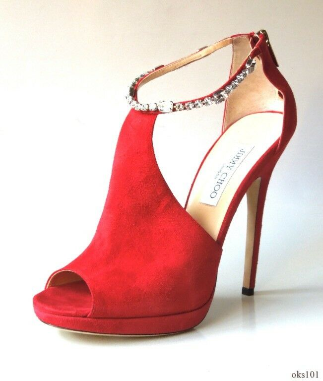 New    1595 JIMMY CHOO Freya rot suede JEWELED ankle strap schuhe 40.5 10.5 - SEXY b38c9f