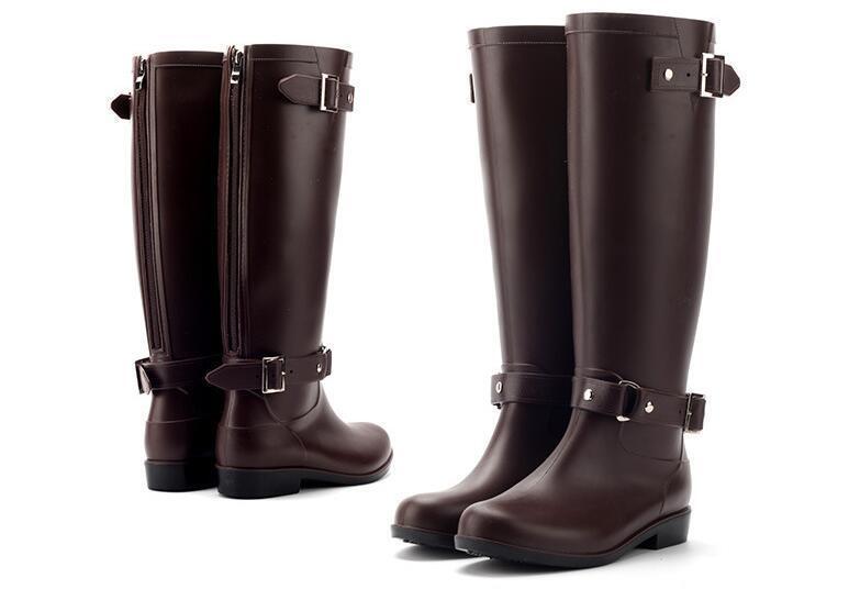 ROT Zipper Rain Stiefel Outdoor Rubber Waterproof Schuhes For Damens Round Toe PU