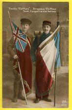 """cpa LYON 1915 MILITARIA WW1 Traités et Drapeaux Flags """"Chiffons"""" FRANCO ANGLAIS"""