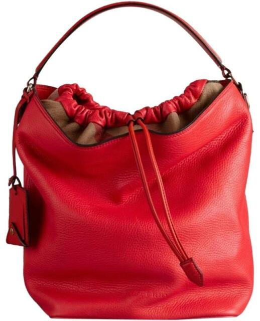 Brand New Women S Burberry Brit Medium Ashby Hobo Red Leather Tote Hand Bag