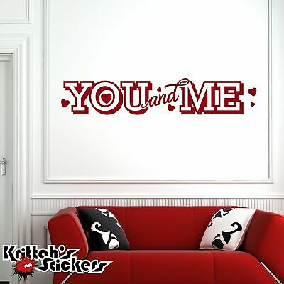 You And Me Vinyl Wall Decal Quote Hearts Love Home Decor Word Art Sticker L046 Ebay