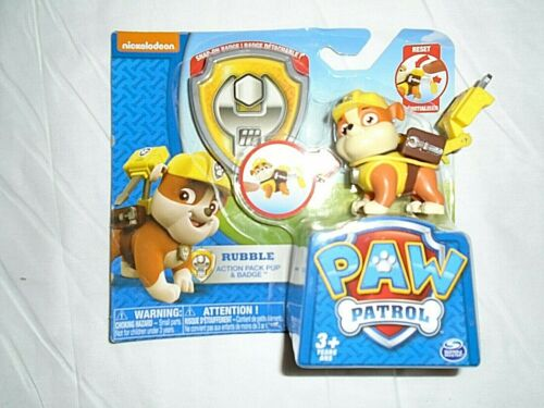 """Snap on Badge /& Pack /""""NEW/"""" Must See Nickelodeon Paw Patrol Rubble"""