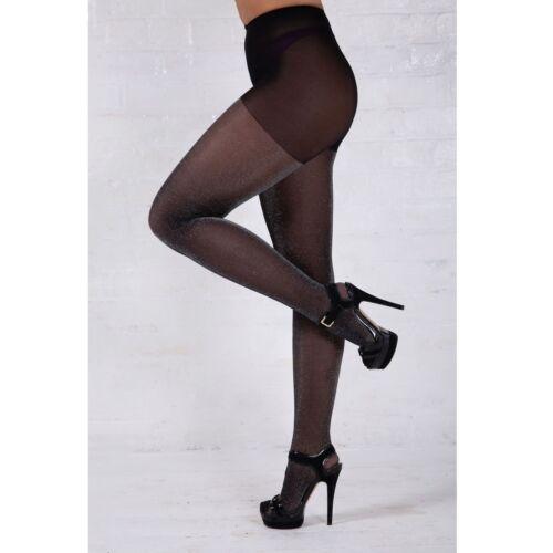 Essexee Legs Lurex Tights Black-Silver Glitter tights EL574 1 Pair 30 Denier