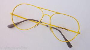 Pilotbrille-uebergrosse-Aviator-Metall-Damen-Doppelsteg-ungetragen-gelb-size-L