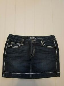ae0c673a02 Wrangler Rock 47s Blue Denim Jean Mini Skirt W/thick white stitching ...