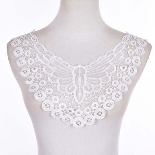 Spitze charmante Blumen Kragen Trim weißen Polyester Nähen Applique Craft ZP
