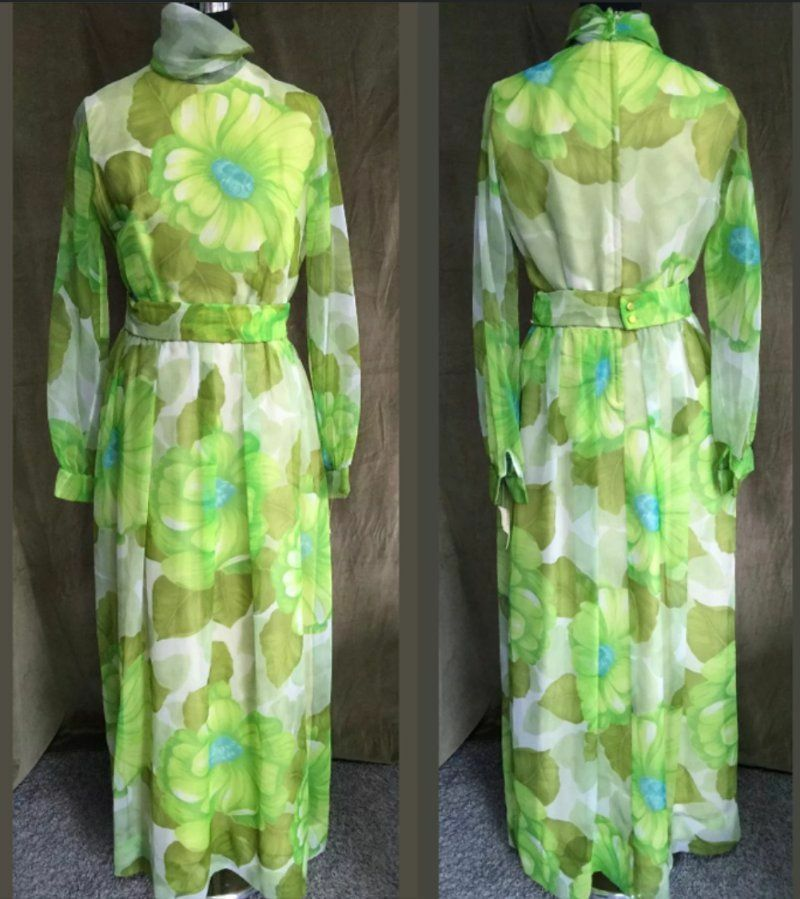 Vintage Belted Lined Semi-Sheer Green Yellow Floral Lined Hostess Maxi Dress, L