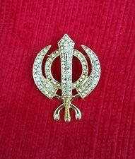 Stunning Diamonte Gold Plated SIKH Khanda Brooch Cake Pin SINGH Turban Dumala