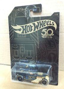 HOT-WHEELS-DIECAST-50th-ANNIVERSARIO-nero-e-gold-series-1-6-Bone-Shaker