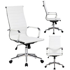 modern high back white ribbed upholstered pu leather